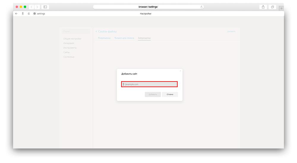 Скриншот добавление url сайта в запрещенные для использования куки