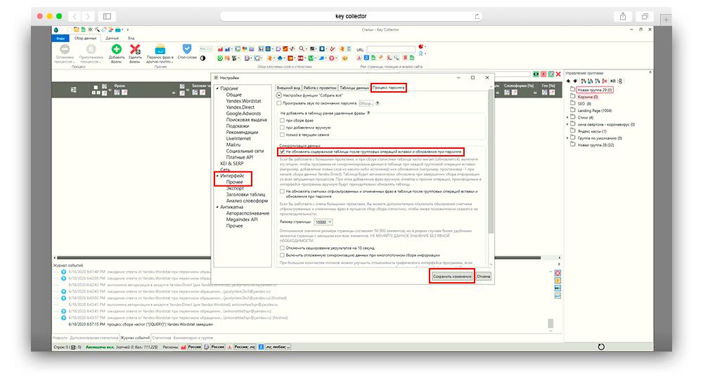 Скриншот настройки интерфейс прочее в key collector