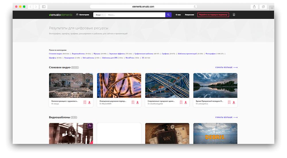 Скриншот общий поиск в envato elements
