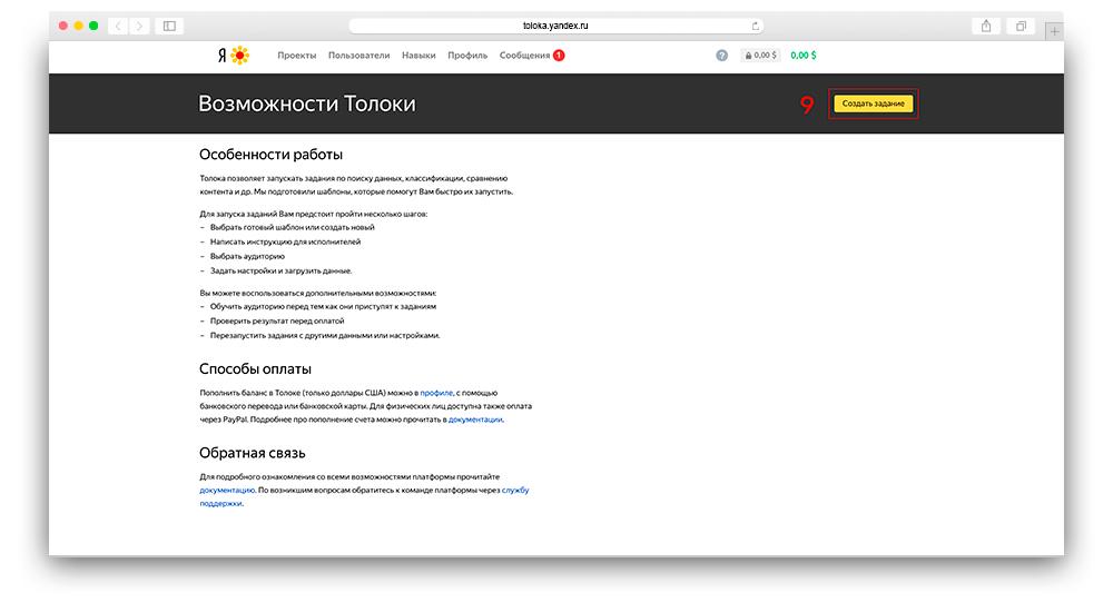 Скриншот регистрации в яндекс толока для заказчиков шаг с 8 по 9