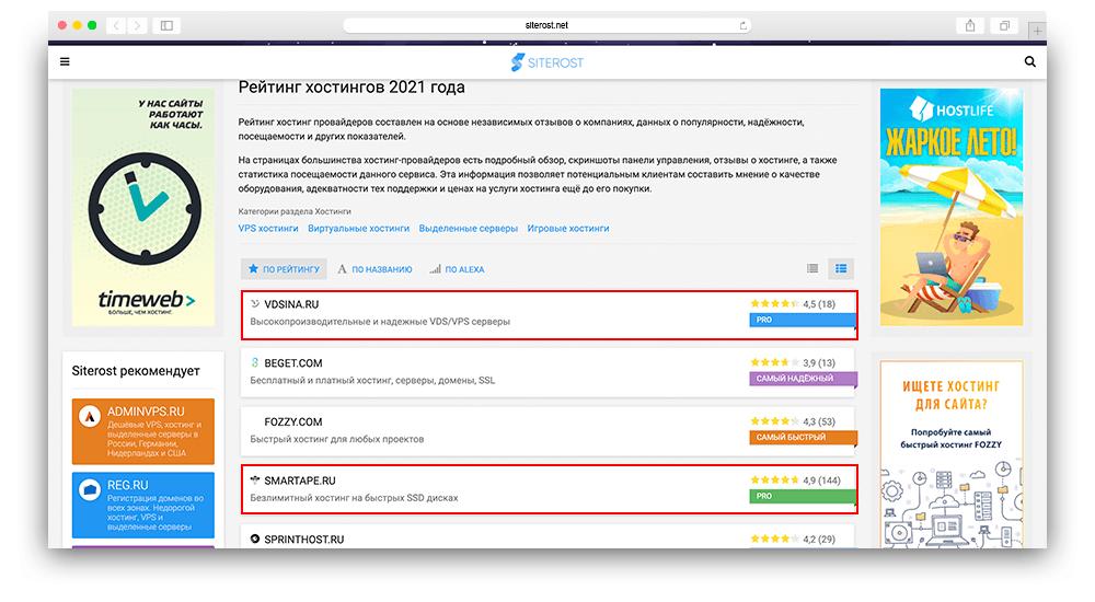 Скриншот siterost обзор рейтинга хостингов