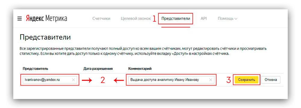 Скриншот выдача представительского доступа