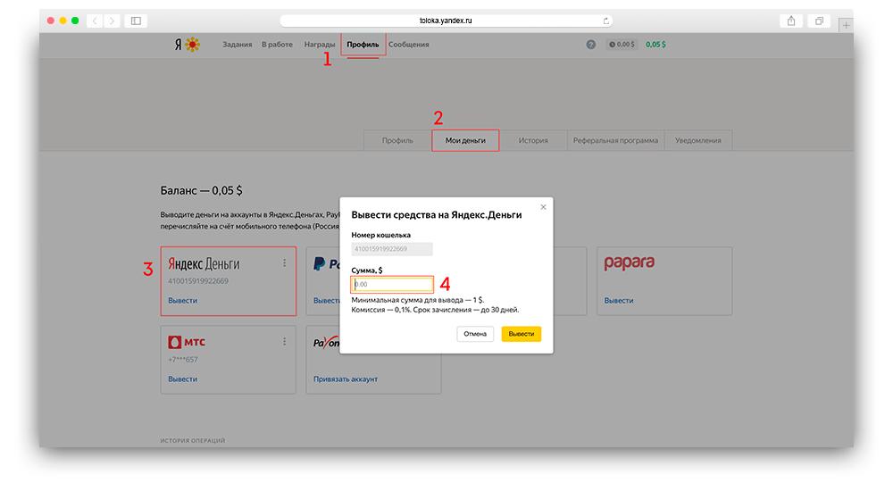 Скриншот вывода денег в яндекс толока шаг с 1 по 4